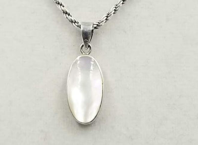 A pretty Sterling Silver chain with Mother of Pearl pendant.  20