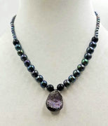 "Druzy quartz necklace, black pearl, onyx, with 14KWG clasp.  Hand-knotted witwith purple silk. 17.5"" length."
