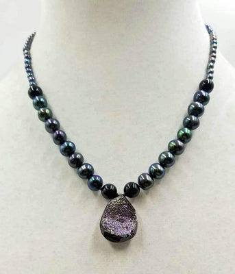 Druzy quartz necklace, black pearl, onyx, with 14KWG clasp.  Hand-knotted witwith purple silk. 17.5