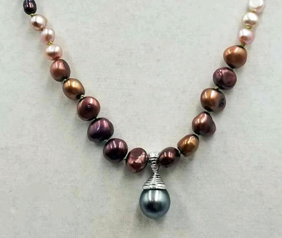 Gorgeous, coppery pearls! Ombre multi-colored fresh-water cultured pearls & sterling silver pendant. 22