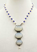 "A devine pendant necklace of pearls, blue aventurine & chalcedony.19"" length."