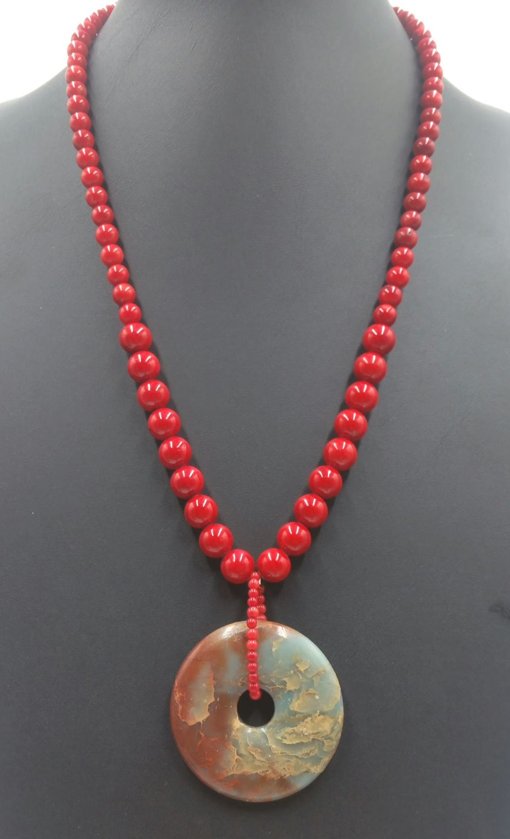 "Coral, red & teal jasper, sterling silver necklace. 23"" Matinee lenth."