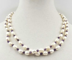 Alternating baroque white pearls & amethysts, rope necklace with 14K gold on silk.
