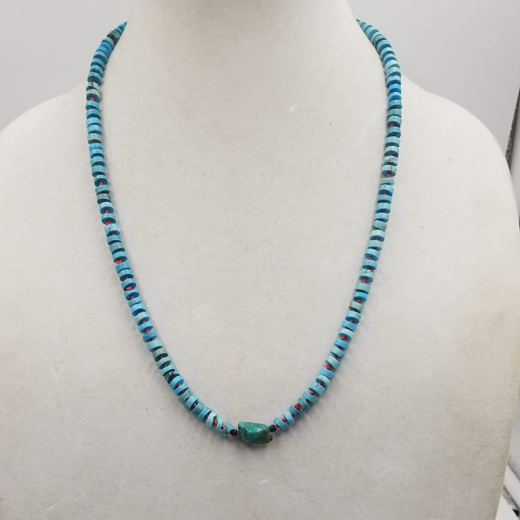 "Sterling Silver, sodalite & turquoise necklace on crimson silk. 25"" length"