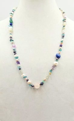 Pretty - Apatite, pearl, flurite, lapis, amethyst, aventurine & rose quartz rope on copper-tone silk