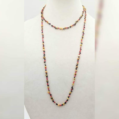Pearl, coral, & 14KYG rope necklace on purple silk. 46