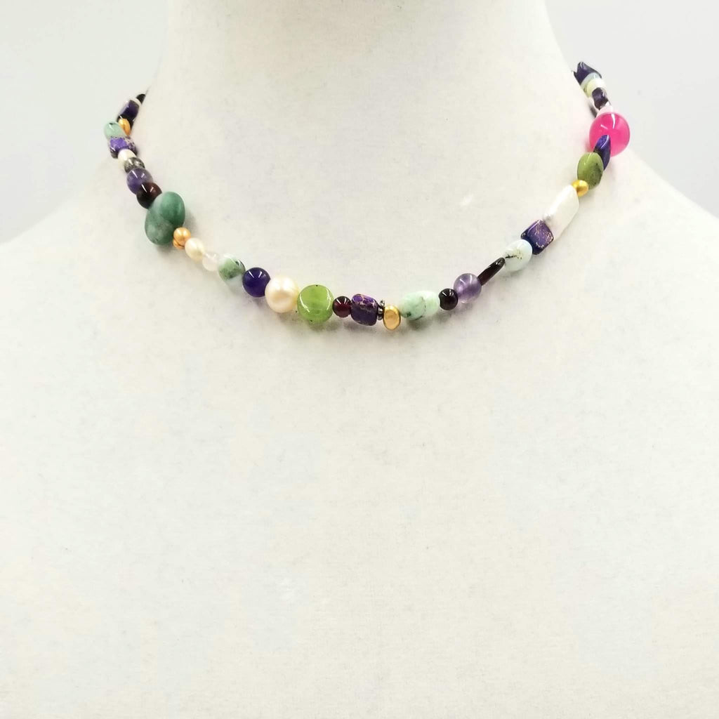 "Colorful! Sterling Silver, multi-stone, shell, choker necklace.15.25"" Length"