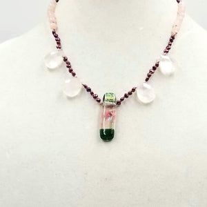 "Pretty. Sterling Silver, pearls, rose quartz, & dichroic glass necklace on crimson silk. 19.5"" Length."