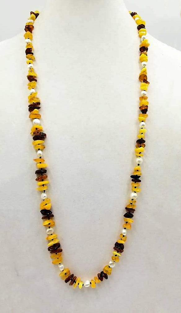 "Baltic amber & pearl rope necklace on navy silk.  36"" Length."