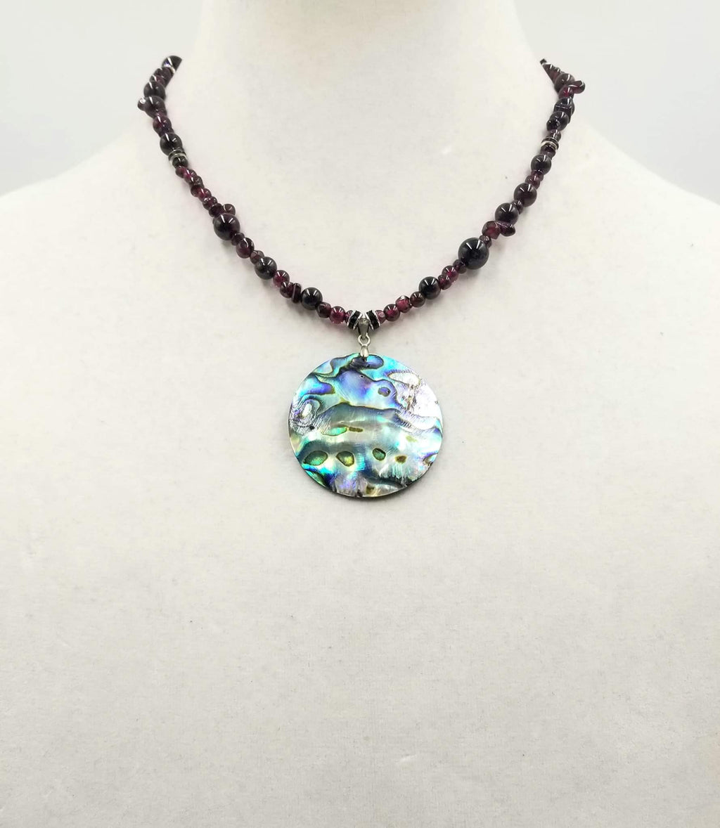 "Past Work. Sterling silver, garnet & abalone pendant necklace.  17.5"" Length. Sold"