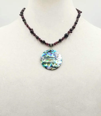 Sterling silver, garnet & abalone pendant necklace.  17.5