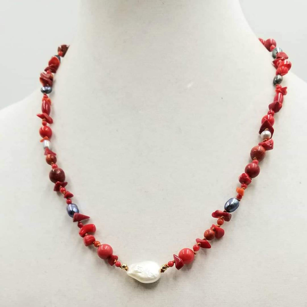 "14KYG, Necklace of coral & pearls, on copper-tone silk. 21"" Length."