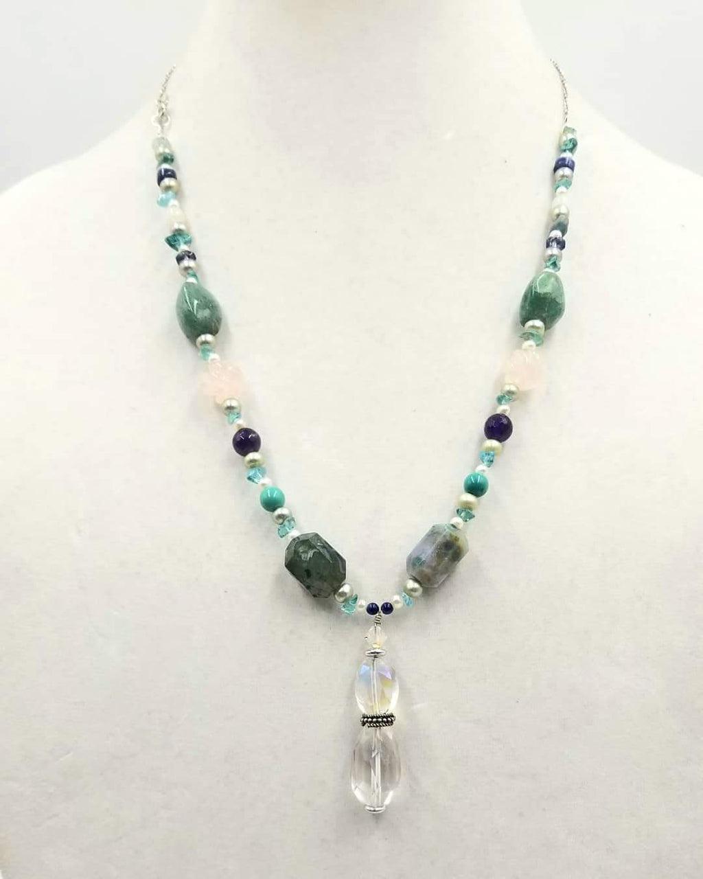 "Sterling silver, apatite, agate, quartz, pearl, howlite, amethyst, & more, pendant necklace.  22"" Length"
