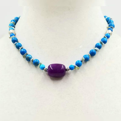 Bold & beautiful! Imperial jasper, keshi pearl, dyed agate & sterling silver necklace on lavender silk.