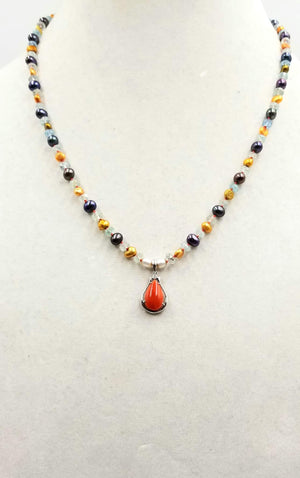 Classic! 14KWG, tri-tone pearl, aquamarine, coral, & diamond pendant necklace on crimson silk.