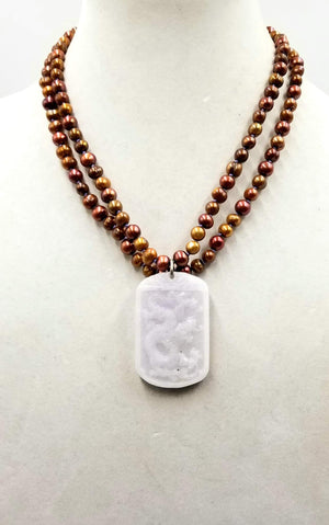 14KWG 2-strand bi-tone bronze pearl & white jadeite dragon pendant necklace on lavender silk.
