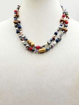 "Multi-color pearls, lapis lazuli, & dyed agate rope necklace.  42"" Length."