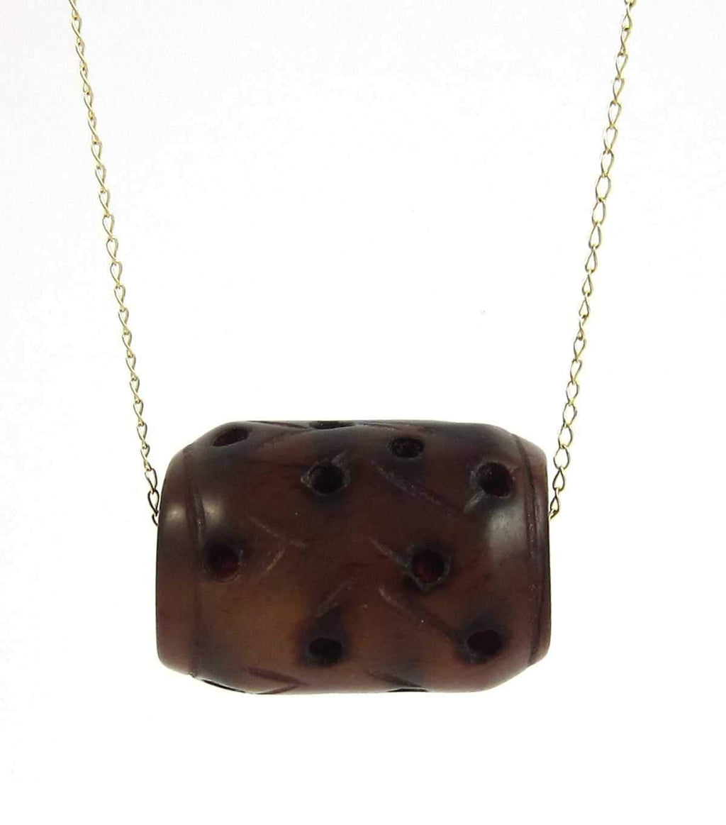 "Vegan. 14K Yellow Gold, Vintage carved reddish-brown nephrite jade, pendant necklace. 18"" Length."