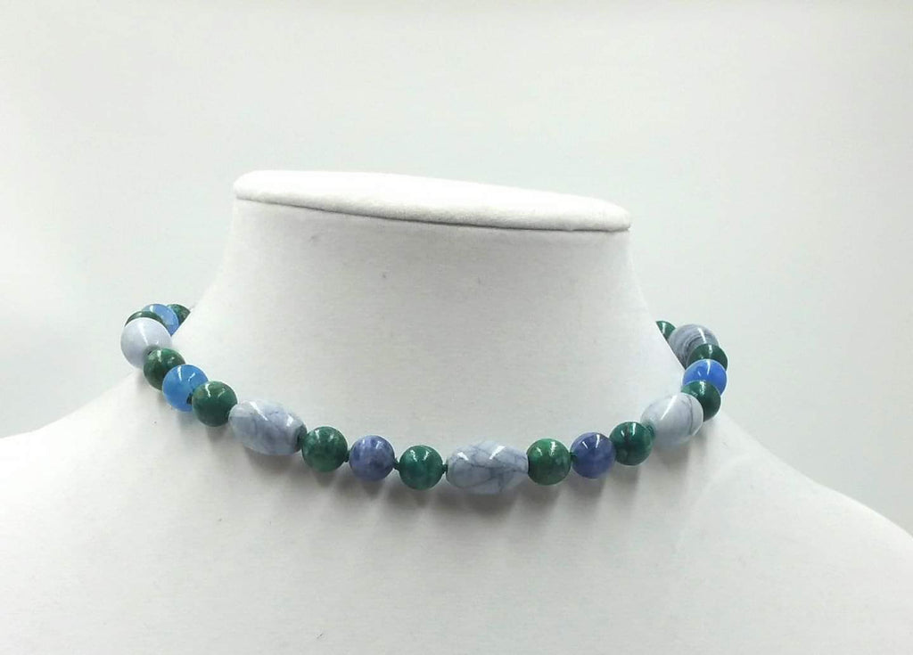 "Sterling silver, azurite, marble,and malachite necklace on verde silk. 13"" Length."