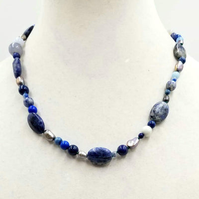 Sterling silver, lapis lazuli, pearl, jasper, marble, chalcedony necklace on verde silk.  20
