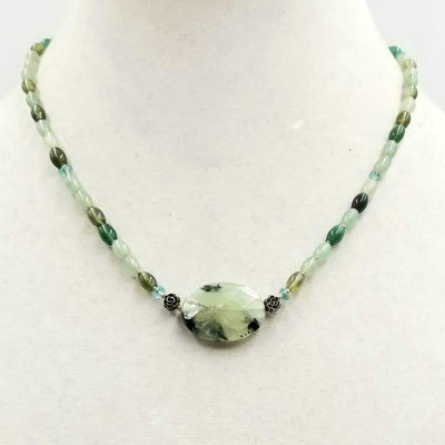Adjustable, sterling silver, jadeite, prehnite, & apatite necklace on silk.  17