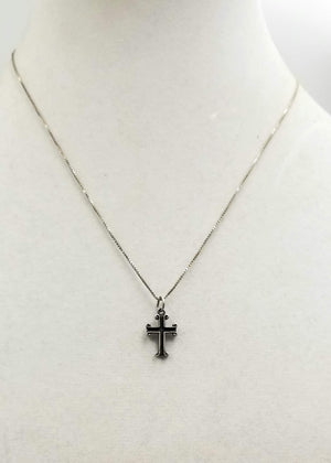 "Sterling silver, adjustable, cross necklace. 17-18"" Length."