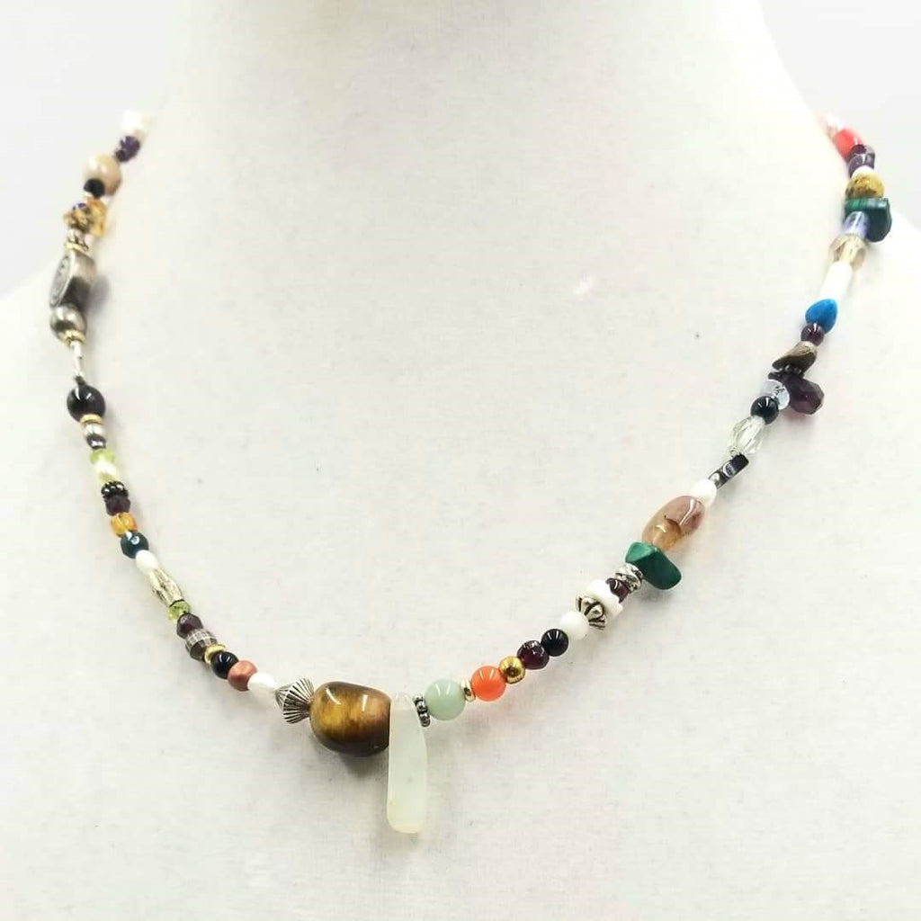 "Colorful and pretty cosmic necklace Adjustable, multi-color, multi-stone, cosmic necklace. 16-18.75"" Length."