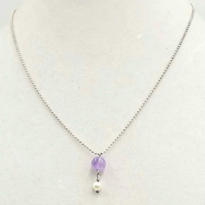 Sterling silver, amethyst & pearl pendant necklace on chain.  18