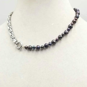 "Stunning unisex necklace. Sterling silver & black pearl necklace on white silk. 17.5"" Length."