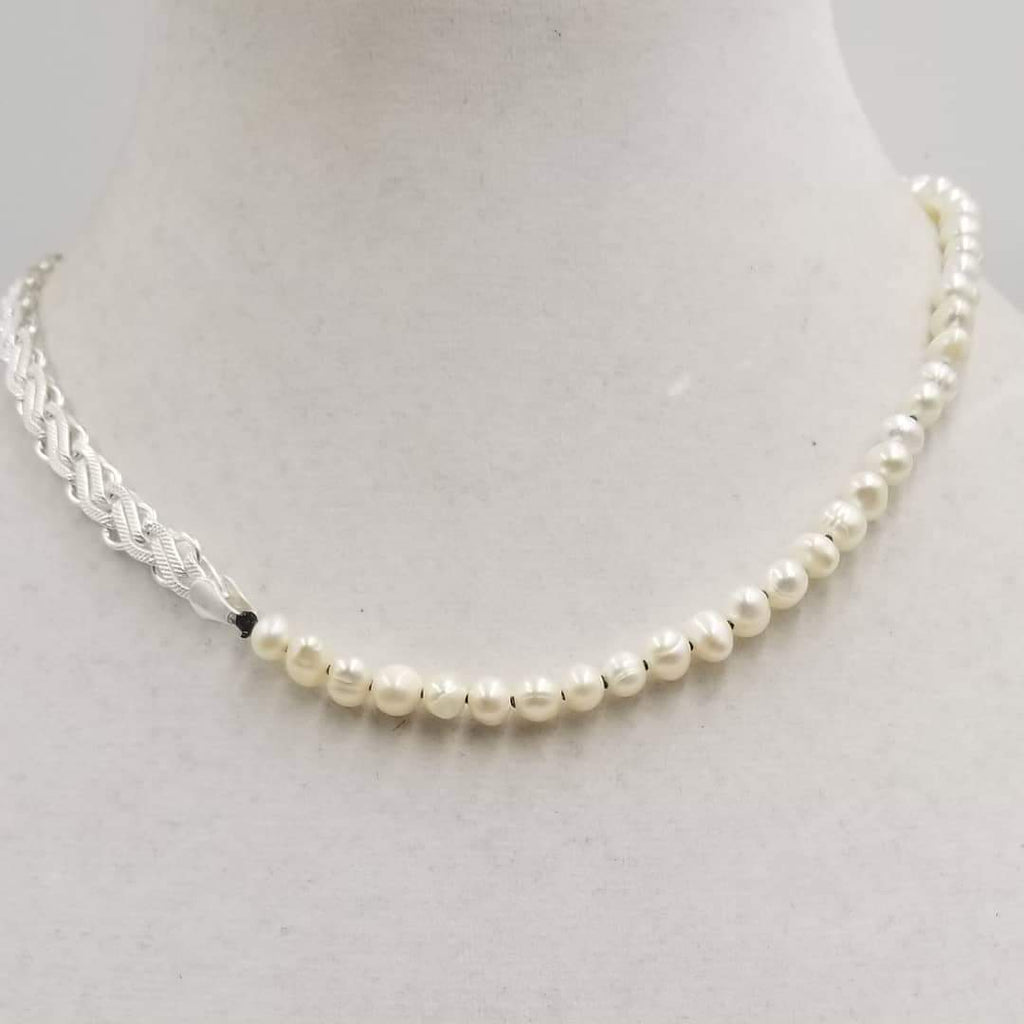 "Beautiful, Unisex. Sterling silver, white pearl necklace on black silk. 17.5"" Length."