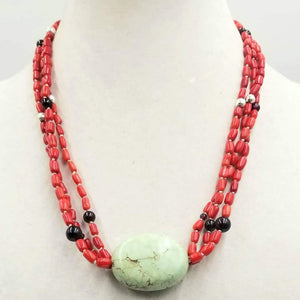 "Three-strand, sterling silver necklace with coral, garnet, & green turquoise on white silk. Southwest design, boho. 20"" Length. You can take a look and place a bid there."
