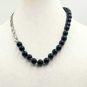 "Sterling silver & Onyx necklace on golden silk. 21"" lENGTH."
