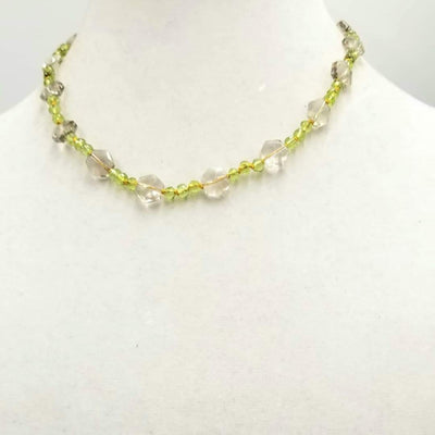 Faceted peridot & smoky quartz sterling silver necklace on golden silk. 17