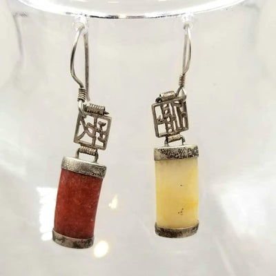 Unique! Earrings made of sterling silver, red & yellow jadeite jade.