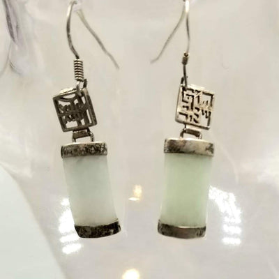 Unique hook earrings made of sterling silver, & celadon jadeite jade.