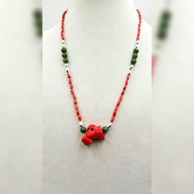Sterling silver, nephrite, & bi-tone coral necklace on sky blue silk. 25