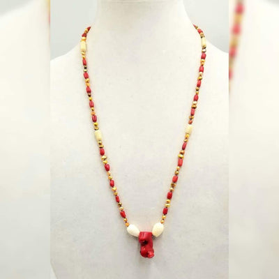 Bi-tone coral,  golden fresh-water cultured pearls, on lavender silk with sterling silver clasp. 28