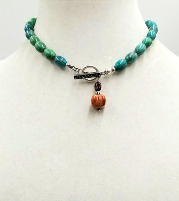 Past Work, Sterling silver, aventurine, toggle choker on silver silk with garnet and jasper pendant. 15.75