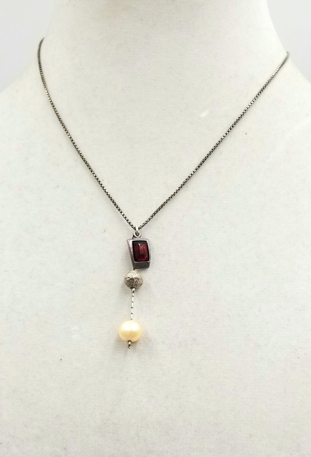 "Sterling silver, Baltic amber & fresh-water cultured pearl pendant necklace. 16.25"" Length."