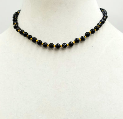 Past Work. Beautiful & Classic. Sterling silver, black, banded agate, choker, on golden silk.   15