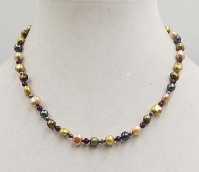 Past Work. Sterling silver, multi-color pearl and garnet necklace on purple silk. Sold.