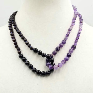 Unique, 2-strand necklace. Amethyst on crimson silk & garnet on periwinkle silk. Adjustable. Princess length.