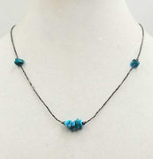 "Unisex sterling and turquoise necklace. 19"" Length"