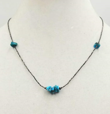 Unisex sterling and turquoise necklace. 19