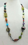 Bold and beautiful. Multi-color, multi-stone, rope necklace.