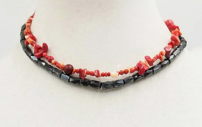Bright & beautiful. An adjustable, Unisex, terling silver, coral & hematite, two-strand necklace. Goth
