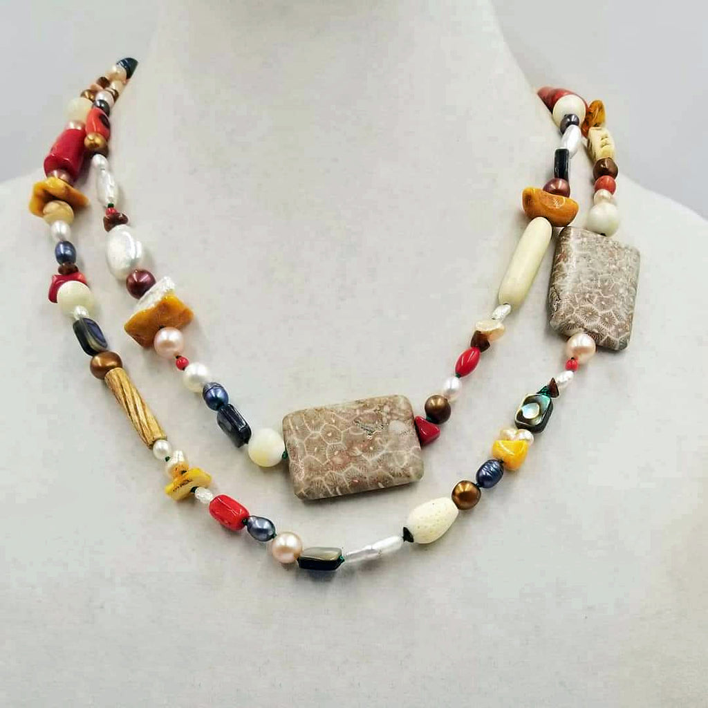 """Organic Gems"" UNIQUE! All organic with  fossilized coral, shell, bone, etc! A conversation piece of beauty. See list of gemstones below."