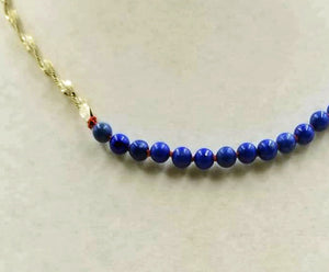"Adjustable, Sterling Silver, Unisex,  Lapis Lazuli choker on crimson silk. 15"" -16.25"""
