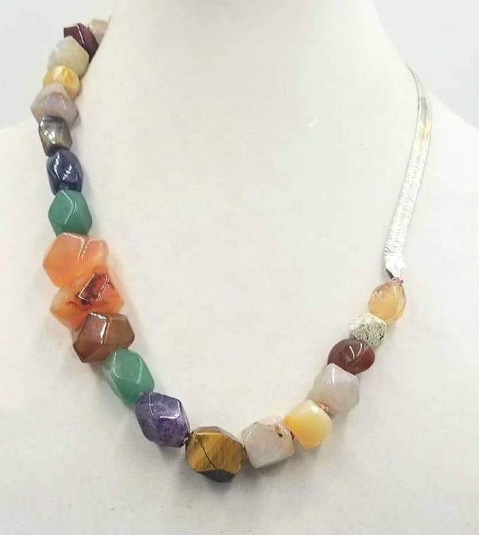 Bold Unisex sterling graduated faceted multistone agate, jasper, calcite, amethyst, aventurine, carnelian, and tiger's eye necklace on rose silk. 22.25""
