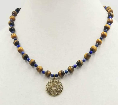 Men & women, take a look at this Tiger's Eye & Lapis Lazuli, Sterling Silver vermeil pendant necklace on white silk. 19
